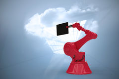 L'immagine composita dell'immagine composita della compressa digitale ha tenuto dalla macchina 3d di rosso Fotografie Stock Libere da Diritti