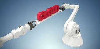 L'immagine composita dell'immagine composita delle mani robot meccaniche che tengono la nuvola manda un sms a Fotografie Stock Libere da Diritti