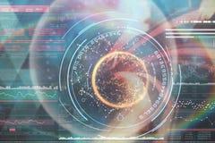 L'immagine composita dell'immagine digitale del globo con i grandi dati manda un sms a 3d Immagini Stock