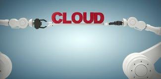 L'immagine composita dell'immagine digitalmente composita delle mani robot che tengono la nuvola manda un sms a Fotografie Stock Libere da Diritti