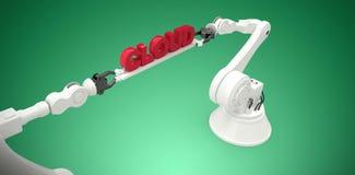 L'immagine composita dell'immagine digitalmente composita delle mani robot che tengono la nuvola rossa manda un sms a Immagine Stock