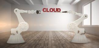 L'immagine composita dell'immagine generata da computer delle mani robot meccaniche che tengono la nuvola manda un sms a Fotografia Stock
