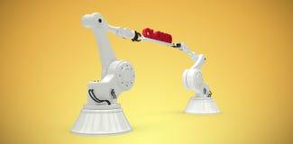 L'immagine composita dell'immagine generata da computer delle mani robot meccaniche che tengono la nuvola rossa manda un sms a Fotografia Stock Libera da Diritti