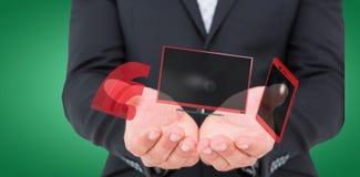 L'immagine composita dell'uomo d'affari che tiene il suo distribuisce 3d Immagini Stock Libere da Diritti