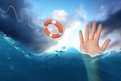 L'immagine composita della mano con le dita ha sparso fuori 3d Fotografie Stock Libere da Diritti