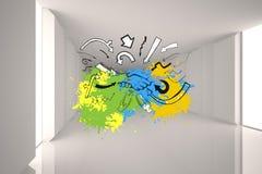 L'immagine composita della stretta di mano e delle frecce su pittura spruzza Immagine Stock