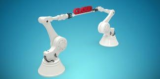 L'immagine composita delle mani robot che tengono i dati rossi manda un sms a contro fondo bianco Fotografia Stock
