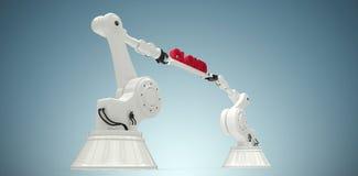 L'immagine composita delle mani robot che tengono la nuvola rossa manda un sms a Immagine Stock