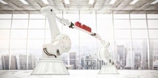 L'immagine composita delle mani robot che tengono la nuvola rossa manda un sms a contro fondo bianco Fotografie Stock Libere da Diritti