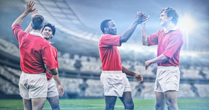 L'immagine composita di rugby smazza in arena 3d Immagine Stock Libera da Diritti