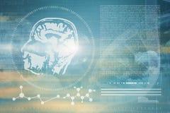 L'immagine composita digitalmente dell'immagine dell'elica del DNA ed il cervello collegano royalty illustrazione gratis