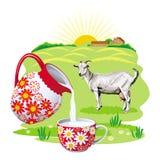 L'immagine con il latte del ` della capra e della capra s Fotografia Stock