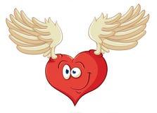 L'immagine del cuore sveglio del fumetto con l'angelo traversa Illustrazione w Immagini Stock Libere da Diritti