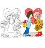L'immagine del fumetto delle coppie per il giorno di biglietti di S. Valentino royalty illustrazione gratis