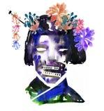 L'immagine dell'acquerello del fronte dello zombie della geisha con i fiori su Halloween o helloween il partito manifesto royalty illustrazione gratis