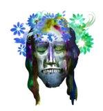 L'immagine dell'acquerello del fronte dello zombie su Halloween o helloween il partito manifesto royalty illustrazione gratis