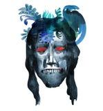 L'immagine dell'acquerello del fronte dello zombie su Halloween o helloween il partito manifesto illustrazione vettoriale