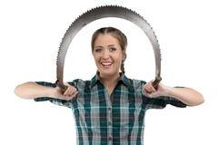 L'immagine della donna dell'agricoltore con la mano ha visto Immagine Stock
