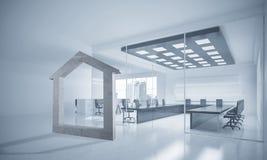 L'immagine di sfondo concettuale di domestico concreto firma dentro il offi moderno Fotografia Stock