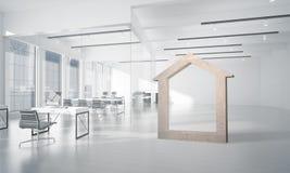 L'immagine di sfondo concettuale di domestico concreto firma dentro l'interno moderno dell'ufficio Fotografie Stock