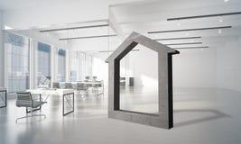 L'immagine di sfondo concettuale di domestico concreto firma dentro l'interno moderno dell'ufficio Immagine Stock Libera da Diritti