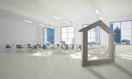 L'immagine di sfondo concettuale di domestico concreto firma dentro l'interno moderno dell'ufficio Fotografie Stock Libere da Diritti