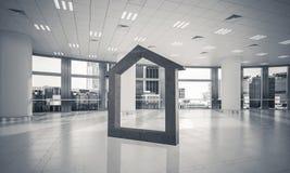 L'immagine di sfondo concettuale di domestico concreto firma dentro il offi moderno Immagine Stock