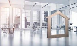 L'immagine di sfondo concettuale di domestico concreto firma dentro l'interno moderno dell'ufficio Fotografia Stock