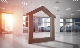 L'immagine di sfondo concettuale di domestico concreto firma dentro l'interno moderno dell'ufficio Fotografia Stock Libera da Diritti