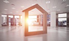 L'immagine di sfondo concettuale di domestico concreto firma dentro l'interno moderno dell'ufficio Immagini Stock