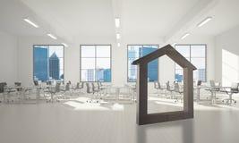 L'immagine di sfondo concettuale di domestico concreto firma dentro l'interno moderno dell'ufficio Immagini Stock Libere da Diritti