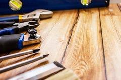 L'immagine di sfondo degli strumenti professionali di un padrone vero Fotografia Stock
