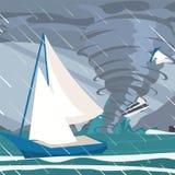 L'immagine di vettore la tempesta ha preso gli yacht l'oceano royalty illustrazione gratis