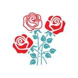 L'immagine di vettore un mazzo dai germogli aperti delle rose illustrazione di stock