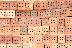 L'immeuble de brique rouge est important dans la construction des murs Image stock