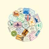 L'immigrazione e la posta del mondo di vettore timbrano i segni riuniti nell'illustrazione del cerchio royalty illustrazione gratis