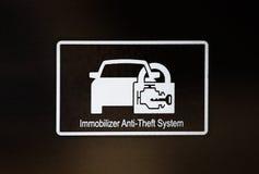 L'immobilizzatore firma dentro l'automobile Immagini Stock Libere da Diritti