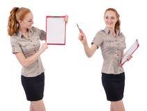 L'impiegato abbastanza giovane con carta isolata su bianco Fotografie Stock Libere da Diritti