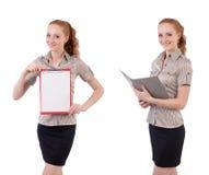 L'impiegato abbastanza giovane con carta isolata su bianco Fotografia Stock