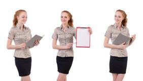 L'impiegato abbastanza giovane con carta isolata su bianco Immagine Stock Libera da Diritti