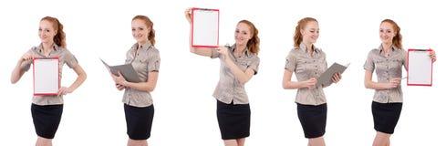 L'impiegato abbastanza giovane con carta isolata su bianco Fotografia Stock Libera da Diritti