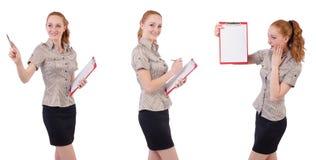 L'impiegato abbastanza giovane con carta isolata su bianco Fotografie Stock
