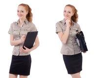 L'impiegato abbastanza giovane con la cartella isolata su bianco Fotografia Stock