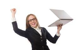 L'impiegato di ufficio grazioso con il computer portatile isolato sopra Immagini Stock Libere da Diritti