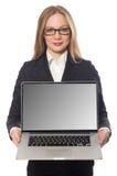 L'impiegato di ufficio grazioso con il computer portatile isolato sopra Fotografie Stock