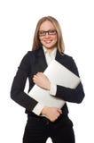 L'impiegato di ufficio grazioso con il computer portatile isolato sopra Immagine Stock