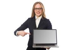 L'impiegato di ufficio grazioso con il computer portatile isolato sopra Immagini Stock
