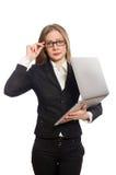L'impiegato di ufficio grazioso con il computer portatile isolato sopra Fotografia Stock Libera da Diritti