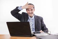 L'impiegato fa il gesto stupido Fotografia Stock Libera da Diritti