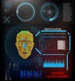 L'impronta digitale facciale di tecnologia di riconoscimento, voce Autenticazione di concetto di sistema di riconoscimento illustrazione di stock